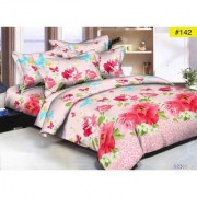 Luxmi Simple flowers Design 3D Double Bed sheets With 2 Piilow covers - Multicolor