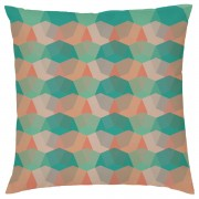Geometric Repeat Cushion - Teal & Orange - Faux Suede - Green/Orange