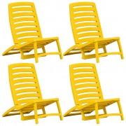 vidaXL Scaun de plajă pliant, 4 buc., galben, plastic