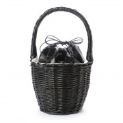 【SALE 50%OFF】【EVOL】ILIMA Casselini メタリック巾着かごバッグ (ブラック) レディース