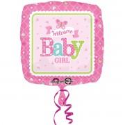 Balon patrat folie metalizata Welcome Baby Girl