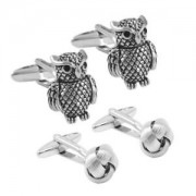 ELECTROPRIME 2Pair Silver&Black Owl Animal and Knot Cufflinks Cuff Links Tie Link for Men