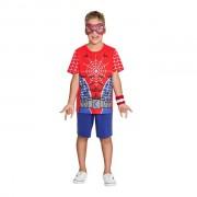 Pijama Fantasia Masculino Curto Homem Aranha Brilha no Escuro com Máscara