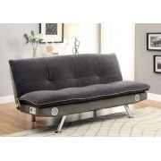 Gallagher collection contemporary style gray champion fabric upholstered futon sofa bed with chrome legs and bluetooth speaker system