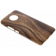 Donkerbruin hout design hardcase hoesje voor de Motorola Moto G5S