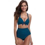 SHEKINI Mujer Triángulo Push up Bikini Set Cintura Alta Braguitas Arruga Trajes de Baña Bañador De Dos Piezas (M,Teal)