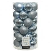 Decoris 37x Lichtblauwe kerstballen 6 cm kunststof mix