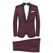 vidaXL Мъжки смокинг костюм от 2 части, 48 размер, бордо