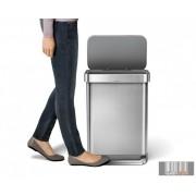 SimpleHuman CW2023 rozsdamentes 55 literes négyszögletes pedálos szemetes beépített zacskótartóval