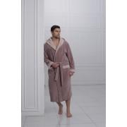 Laete Мягкий бамбуковый мужской халат коричневого цвета с капюшоном Laete L11008-2