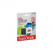 Memoria MicroSDHC USH-I Sandisk Ultra De 8 GB, Clase 10, Incluye Adaptador SD. SDSDQUAN-008G-G4A
