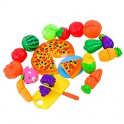 MagiDeal Set Of 24PCS Fruits Vegetables Pizza Slices Kitchen Pretend Play Set Developmental Kids Children Toy Fun Game