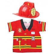 Aeromax My 1st Career Gear Firefighter Shirt and Light up Helmet with Siren 2 Piece Bundle, Red.
