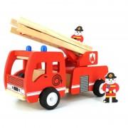 Jucarie din lemn - Masina de pompieri cu scara, 30 CM