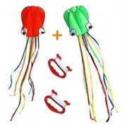 Boyu kids kite,Pack-2 (With kite lines and handles ) easy flyer 150 inches * 28 inches-Colorful Kite Software Octopus Kite