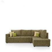 Earthwood - Lounger Sofa L - Shape Design with Sepia Fabric Upholstery - Premium