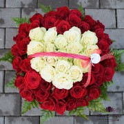 Cos cu 55 Trandafiri Inima