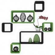 BM Wood furniture Set Of 6 Designer Wall Rack Shelves (black-green)