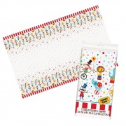 Circus Table Cover - Wipe-Clean Table Cloth For Kids Circus Birthday Parties. Size 137 x 213cm.