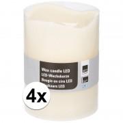 Geen 4x Witte LED kaarsen/stompkaarsen 20 cm