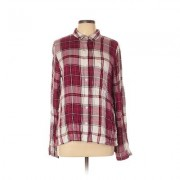 SO Long Sleeve Blouse: Pink Plaid Tops - Size X-Large