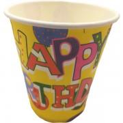 Papír pohár 10 db/cs - Happy Birthday sárga