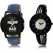 The Shopoholic Black Silver Combo Treny and Precious Black And Silver Dial Analog Watch For Boys And Girls Mens Leather Watches