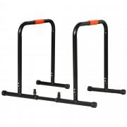 Homcom Parallele Fitness per Esercizi in Acciaio Nero con Larghezza Regolabile 89-99 cm