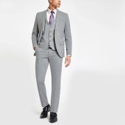 River Island Mens Light Grey stretch skinny fit suit trousers (34R)