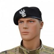 """Beret szyty wojskowy czarny """"Klasa Mundurowa"""" z orzełkiem"""