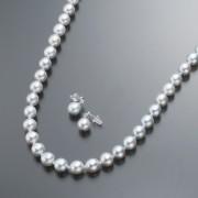 アコヤ真珠ナチュラルカラー8mm珠 ネックレス&イヤリング/ピアス【QVC】40代・50代レディースファッション