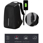 Style Homez Large Waterproof Anti Theft and USB Charging Casual Backpack Laptop Bag for 15.6 Laptops Black Color
