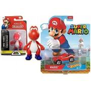 "Cartoon Hot Wheels Character Car 2017 Super Mario Video Game Car & World of Nintendo 2.5"" Red Yoshi Action Mini Figure Pack"