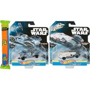 Hot Wheels Star Wars Carships 2-Pack Millennium Falcon & Tie Fighter + Hot Wheels Straight Track Pack