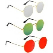 SRPM Retro Square Sunglasses(Silver, Green, Red)