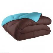 Couette bicolore coton 140x200 cm 570 gr/m² chocolat turquoise