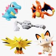 Set of 5 - Pokemon Pokeball Action Figures - Charizard Meowth Totodile Zapdos Geodude Anime Action Figure 5-8 cms PVC Toys