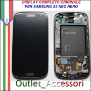 Display LCD Touch Samsung Galaxy S3 Neo Nero Black I9301 Originale Schermo GT Cornice Gorilla Glass