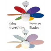 LBA Home Ceiling Fan Pastel Multicolor, 76 Cm With Integrated Lamp Blades Multicolor And Pastel And Bright.
