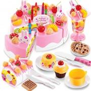 75pcs Simulation Gâteau D'anniversaire Jouets De Cuisine Pretend Playset Cutting Food Toy Tableware Cocina De Juguete Plastic Play Tea Set