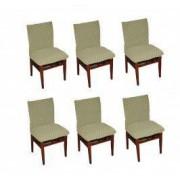 Set 6 huse elastice bicolore/gofrate cu bumbac fara volan pentru scaun TRADE STORE DELIVERY Bumbac si Poliester Bej deschis