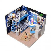 Flever Dollhouse Miniature DIY House Kit Creative Room With Furniture and Cover for Romantic Valentine's Gift(Small Dream of Great Space)