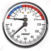 "Termomanometru 63mm 1/2"" 0-6 bar 120°C montaj axial"