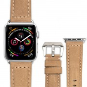 QIALINO Crazy Horse Texture Genuine Leather Band for Apple Watch Series 5 4 40mm / Series 3 / 2 / 1 38mm - Khaki