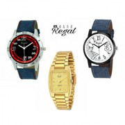 Mark Regal 2 Denim Leather Strap+1 Golden Metal Men's Watches Combo Of 3