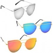Sulit Cat-eye Sunglasses(Silver, Blue, Golden)