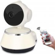 Seguridad IP Cámara Wifi Bebé Monitor V380 HD 720P Inalámbrico P2P Visión Nocturna IR Robot De Apoyo 64G-Blanco