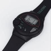Ceas vorbitor, de mână, în limba engleză, din plastic, cu afişaj digital