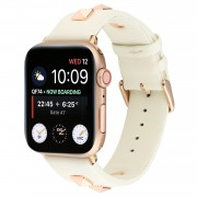 Genuine Leather Watch Strap Smart Watch Band Watchband with Rose Gold Fastener for Apple Watch Series 1 2 3 42mm / Apple Watch Series 5 4 44mm -Beige