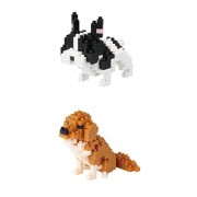 Two Nanoblock Dog Sets Sold Together- Golden Retriever and French Bulldog (Japan Import)